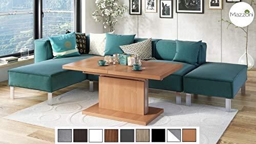 Mazzoni Design Couchtisch Tisch Aston stufenlos höhenverstellbar ausziehbar 120 bis 200cm Esstisch (Erle)