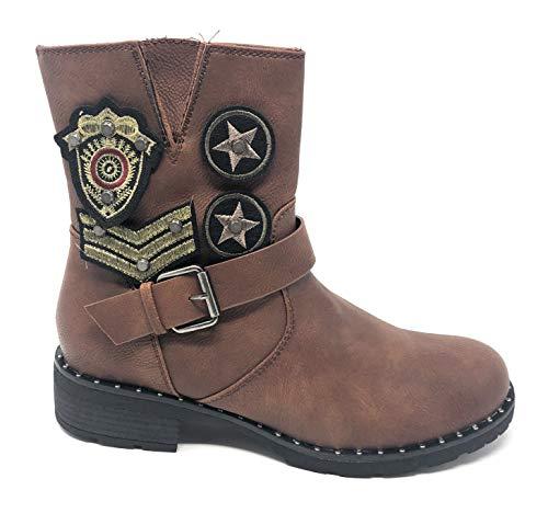 Supremo Linea Damen Biker Boots Patches Stiefeletten Stiefel Schuhe (41 EU)