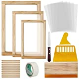 Colovis 23 Pcs Screen Printing Starter Kit, Include 3 Sizes Wood Silk Screen Printing Frame, Screen Printing Squeegees, Transparency Inkjet Film, Masking Tape and Ink Spatula for Screen Printing