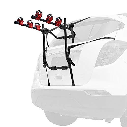 Portabicicletas Trasero con Correas para 3 Bicicletas, Portabicicletas Montado En El Maletero para La Mayoría De Los Sedanes/Hatchbacks/Minivans Y SUV