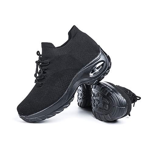 Scarpe Ginnastica Donna Sneakers Running Camminata Corsa Basse Tennis Air Traspiranti Sportive Gym Fitness Casual Comode Nero Taglia 37