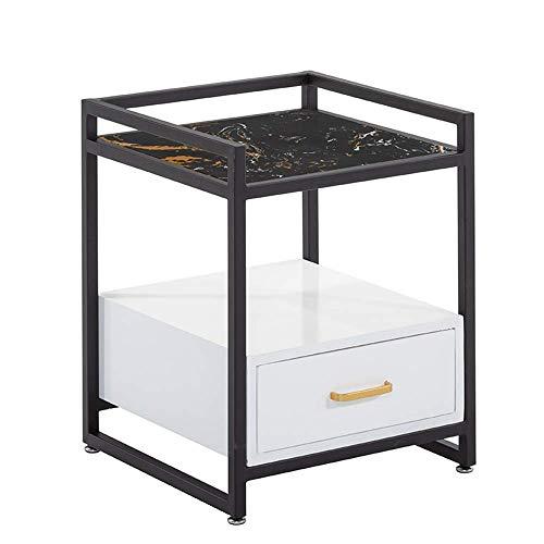Carl Artbay Home&Selected Furniture/marmer slaapkamer nachtkastje woonkamerbank bijzettafel zijkast met 1 lade opbergkast, 16,9 inch, 16,9 inch, 21,6