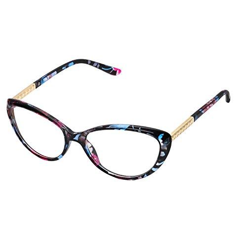 forepin reg; Montura para Gafas de Vista Mujer Ojos De Gato Lente Transparentes Unisexo Hombre - Flores Azules