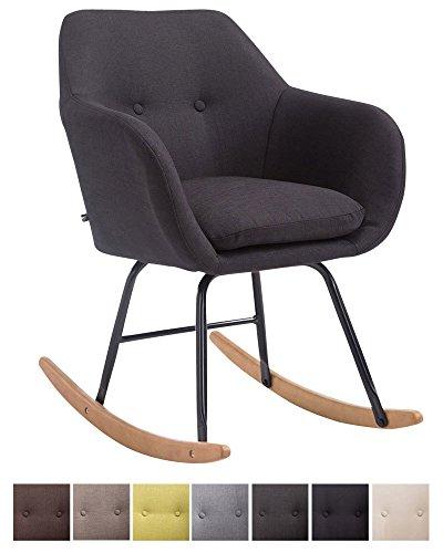 CLP Schaukelstuhl Avalon, Stoff-Sitz, Schaukelsessel mit Metall-Gestell, Relaxsessel mit Holzkufen, Schwarz