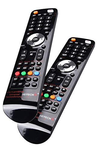 HEITECH Universal Fernbedienung für 4 Geräte 2er Pack - 4in1 lernfähige Unversalfernbedienung für Smart TV, DVD, SAT, AV Receiver - Multifunktionsfernbedienung mit Lernfunktion & für alle Marken