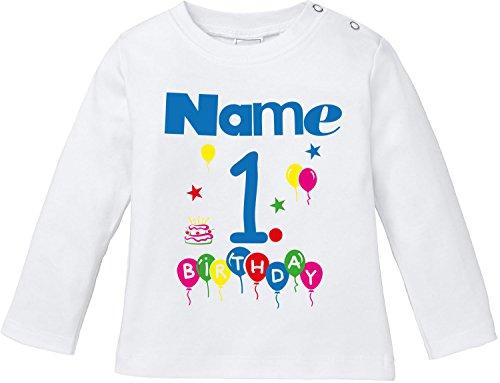 EZYshirt EZYshirt® Geburtstag Wunschname Wunschnummer Baby T-Shirt Longsleeve Bio Baumwolle
