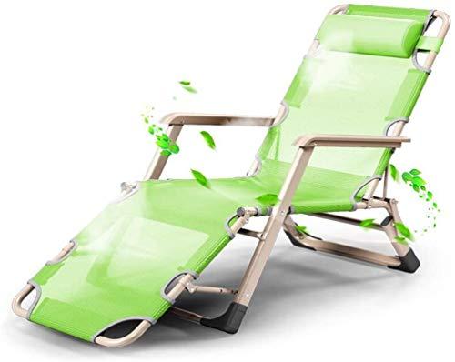 ZHENG Tumbonas Sol Mecedora Reposacabezas Plegable reclinable reclinable jardín Camping Cama (Color: Negro) (Color : Green)