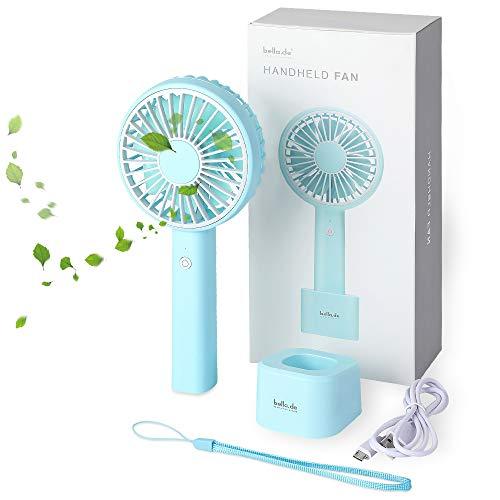 memumi Handheld Fan, Ventilador de Escritorio de Ventilador Portátil Ligero para Oficina/Al Aire Libre/Viajar en Casa, Ventilador USB Portátil (Azul)