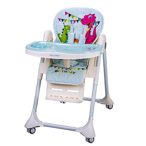 TripleTree Baby High Chair Portable High Chair for Infant and Toddler with Five-Point Seat Belt, 7 Height Adjustable, Waterproof PU Cushion