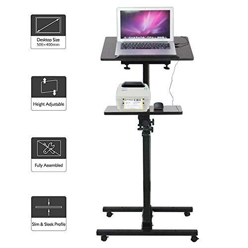 HPDOP Laptoptisch HöHenverstellbar, Schreibtisch HöHenverstellbar,Mobiler Schreibtisch,Laptoptisch FüRs Bett,NotebookstäNder,Sofa Beistelltisch, Belastung 40 Kg,1.2m