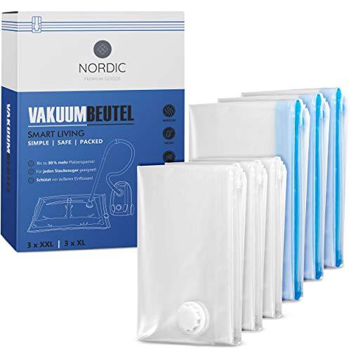 NORDIC® Vakuumbeutel (6er Set) in 80x60cm u. 80x100cm – BPA Frei INKL. ETIKETTEN - Vakuumbeutel für Bettdecken, Kleidung und vieles mehr - Vacuum Storage Bags in L und XL