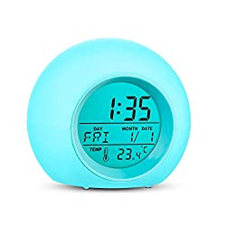 ZALIK Alarm Clock Wake Up Easy Setting Digital Clock for Boys Girls, 7 Colors Changing LED Light Large Display Time/Date/Temp/Alarm with Snooze, Bedside Clock, Night Light Clock - Best Gift for Kids
