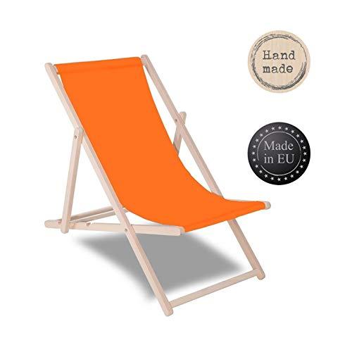 SPRINGOS Liegestuhl Sonnenliege Gartenliege klappbar Relaxsessel Klappstuhl Relaxliege Freizeitliege (Orange)