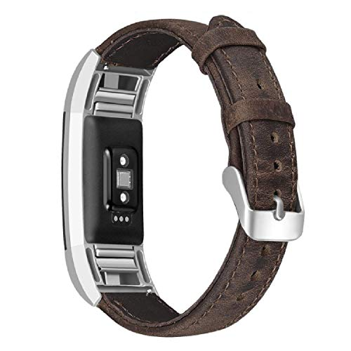 SKYLET Compatible with Fitbit Charge 2 Leather Bands, Retro Genuine Leather Classic Replacement Wristband Compatible with Fitbit Charge 2 with Metal Connector Men Women Small Large (No Tracker)