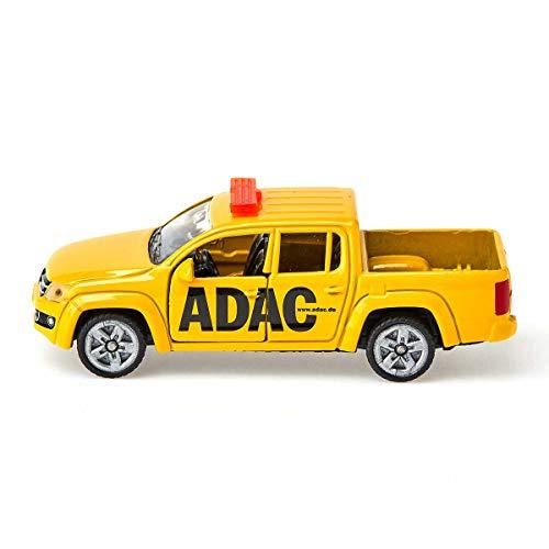 siku 1469, ADAC Pick-Up, Metall/Kunststoff, Gelb, Spielzeugauto für Kinder, Öffenbare Türen