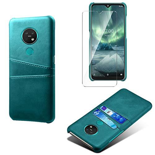 LJSM Hülle für Nokia 7.2 + Transparent Panzerglas Bildschirmschutzfolie Schutzfolie - PC + PU Schutzhülle Tasche Hülle für Nokia 7.2 (6.3