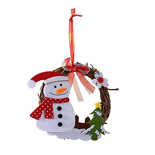 TianWlio Weihnachten Kranz Anhänger Deko Christbaumschmuck Holzverzierung Weihnachtsbaumschmuck Baum Weihnachtsdeko Schneemann Weihnachtsbaum