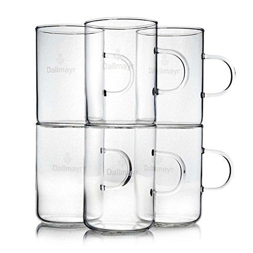Dallmayr 6 x Teeglas Logo und Henkel 0,25 ml hauchdünn Teegläser