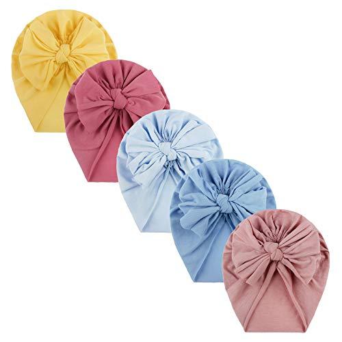 N/AB 5 unidades de turbantes para bebé, niña, recién nacido, cinta para el pelo, gorro elástico para verano, con lazo Nº 04 Talla única