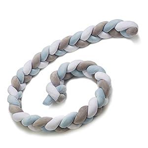 protector cuna chichonera – Cama Bebé Trenzado Parachoques Cojín Protectores Para Cunas y Camas de Bebé blanco gris azul…