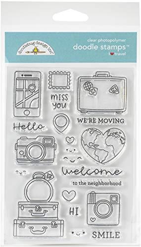 Doodlebug 6378 Doodle Stamps Clear I HRT TRVL, I Heart Travel