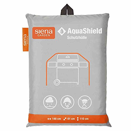 Siena Garden AquaShield Gasgrillschutzhülle, L, silber-grau, mit Active Air System, 148x61x110cm