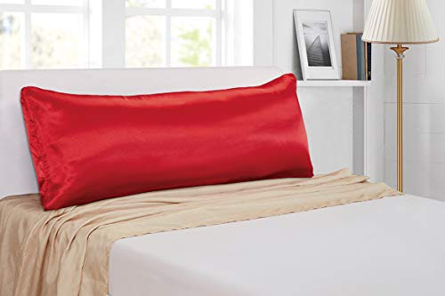 Mk Collection 1pc Soft Silky Satin Solid Color Body Pillow Case Cover Protector (Red)