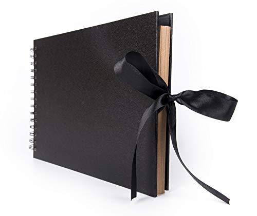 Smiling Art Fotoalbum 80 Seiten (40 Blatt) zum selbst gestalten/basteln, zum einkleben, DIY Scrapbook, Deckblatt aus Harter Pappe, beige Seiten, mit Zubehör Kit