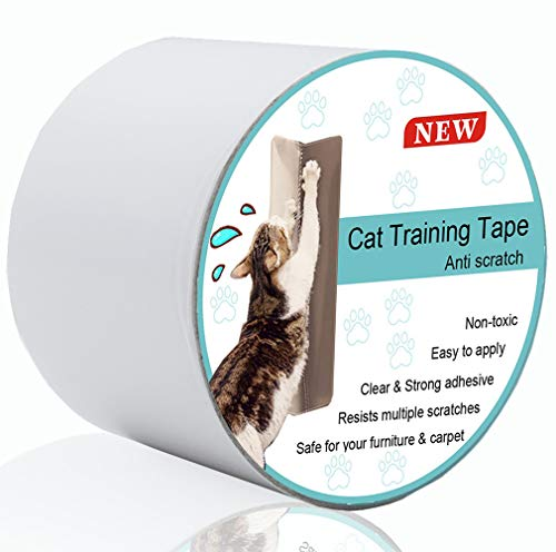 Anti Scratch Cat Training Tape, Safe Clear Double Sided Tape for Guard Your Couch, Doors and Furniture (3-Inches x 16 Yards)