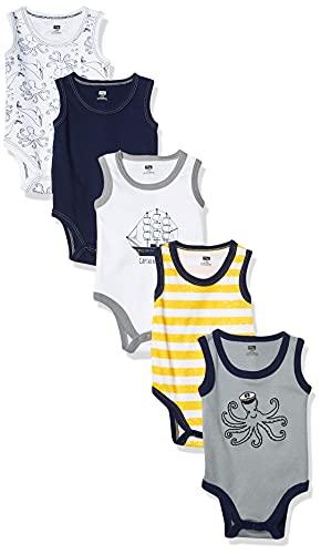 Hudson Baby Unisex Baby Cotton Sleeveless Bodysuits, Sea Captain, 6-9 Months