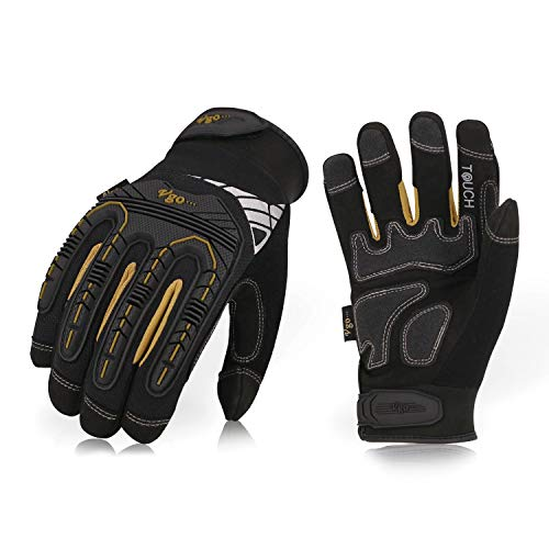 Vgo hohe Mechnische Arbeitshandschuhe, für große Belastungsarbeit, Vibration-Schutz-Handschuhe, Heavy Duty (1 Paar, 9/L, Schwarz + Gold, SL8849)