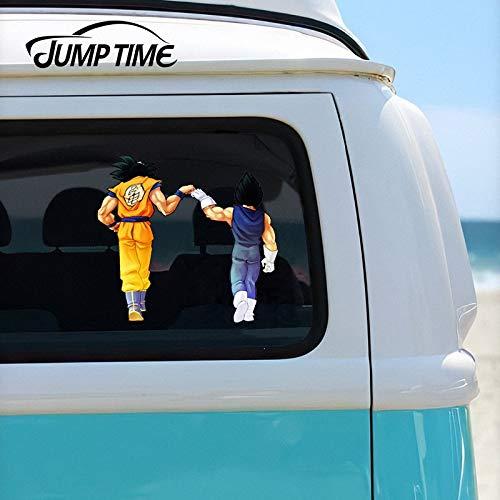 Tiempo de Salto 13cm x 12cm Dragon Vegeta y Goku Puño Golpe Ventana Ventana Laptop Trunk Decal Cartoon Funny Car Sticker Impermeable Car Styling