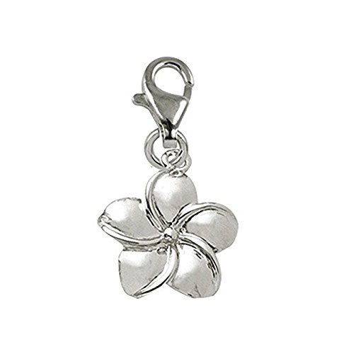 Sterling Silver Plumeria Flower Charm With Lobster Claw Clasp, Charms for Bracelets and Necklaces