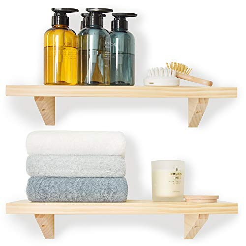 JS HOME Natural Floating Shelves Wall Mounted, Set of 2 Wall Shelves for Bedroom, Kitchen, Bathroom, Living Room, Kitchen, Decorative Wooden Wall Shelves, 16.9