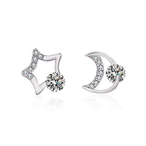 Orecchini con perno, in argento 925, a forma di stella e luna, con zirconia cubica e cristallo rotondo, da donna, idea regalo