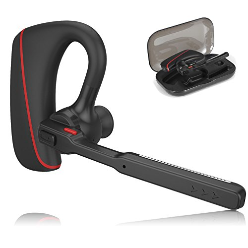 Bluetooth Headset, Audioxa Hands Free Dual Mic Noise Cancelling Wireless Earpiece for Office/Business/Truckers/Driver (Black with red)