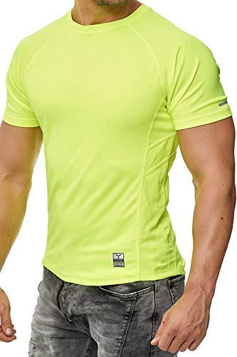 Happy Clothing Herren Sport T-Shirt Kurzarm Trikot Sommer Funktionsshirt Fitness Top, Größe:S, Farbe:Neongelb