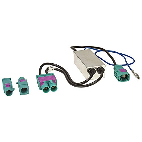 tomzz Audio 1503-011 Doppel Fakra Diversity Antennenadapter mit Phantomeinspeisung kompatibel mit Audi Seat Skoda VW Citroen Peugeot Opel auf Fakra Radio