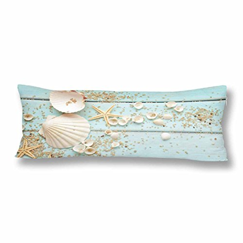 InterestPrint Nautical Starfish Seashell Body Pillow Covers Pillowcase with Zipper 21x60 Twin Sides, Summer Hawaii Beach Rectangle Body Pillow Case Protector for Home Couch Sofa Bedding Decorative
