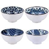 DOITOOL 4PCS di Ceramica Giapponese di Cereali Ciotole Set Cinese Ciotola di Riso Ciotola di Porcellana Bianca E Blu Ciotole per Cereali Insalata Zuppa di Ramen Dolce di Riso Noodle Pasta