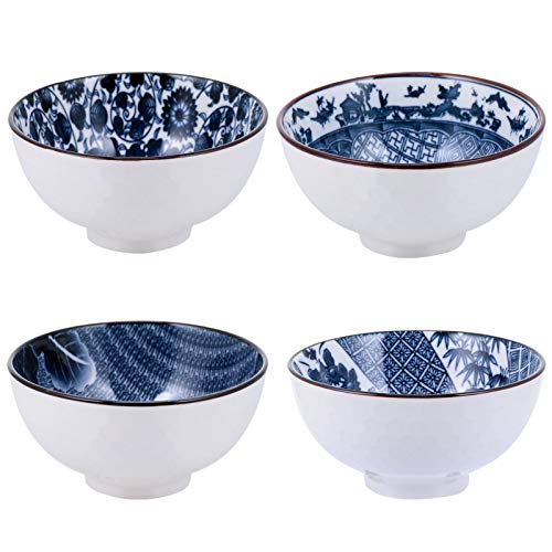 DOITOOL Juego de 4 cuencos de cerámica japonesa de cereales, cuenco chino de arroz, cuenco de porcelana blanca y azul, cuencos para cereales, ensalada, sopa de Ramen dulce de arroz y pasta