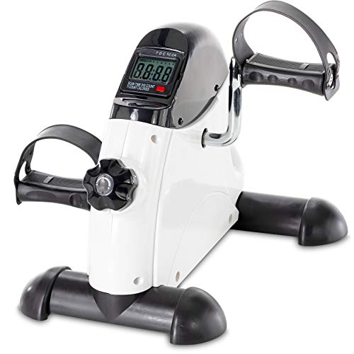 Pedal Exercise Mini Cycle Bike - Smart Under Desk Bike Great for Seniors and Office Workers to Tone and Strengthen Arms and Legs - Digital Display - Ergonomic Pedals Designed to Fit Every Size Foot