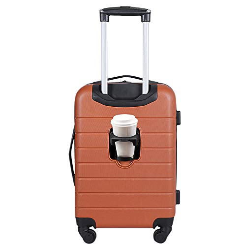 Wrangler Smart Luggage Set with Cup Holder and USB Port, Burnt Orange, 20-Inch Carry-On