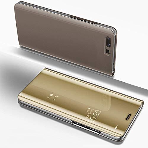Herbests Hülle Kompatibel mit Huawei P Smart Spiegel Ledertasche BookStyle Handyhülle Brieftasche Glitzer Kristall Spiegel Hülle Mirror Case Leder Flip Tasche Lederhülle,Gold