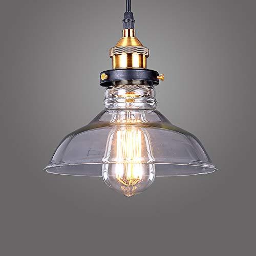 Lightess Lámpara de Techo Colgante Cristal Lámpara Vintage Rústico Industrial E27 No Incluye Bombilla Iluminación para Comedor, Restaurante, Dormitorio, Transparente