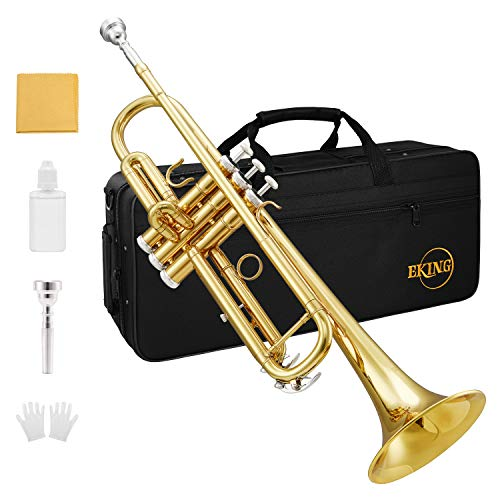 Eking Bb Trumpet Standard Student Bb Trumpet Set Gold Trumpet with Hard Case, Valve Oil, 7C Mouthpiece, Cleaning Cloth and Gloves, Brass Instrument for Beginner, KTR-400