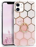 Imikoko iPhone 11 リングケース キラキラ 大理石花柄 女性向け メッキバンパー レンズ特別保護 二重構造 バンパー メタルスタンド 新型 おしゃれ かわいい 純正 (アイフォン11 ライトピンク)