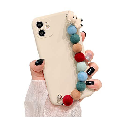 Carcasa de Silicona Líquida Compatible con iPhone 7 Plus/ iPhone 8 Plus, Funda Protectora Suave Antigolpes con Cadena de Muñeca para Niñas Mujeres, Funda Antirrayas para iPhone 7 Plus/ 8 Plus, White