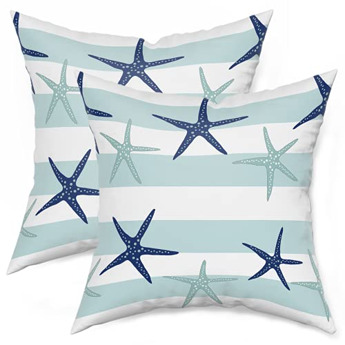 Nautical Starfish Pillow Covers 18X18 Inch Summer Coastal Pillows Farmhouse Outdoor Decor for Home Bedroom Living Room Cotton Navy Blue Pillowscase,Square Cushion Cover ,Set of 2