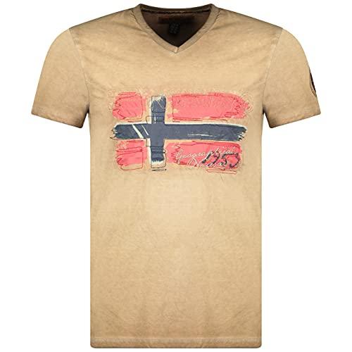 Geographical Norway JOASIS Men – Camiseta de algodón para hombre, casual, estampado con logotipo impreso de manga corta – Cuello en V – Corte ajustado para hombre